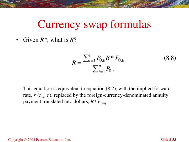 Currency swap formulas