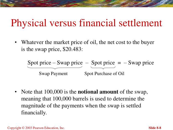 Physical versus financial settlement