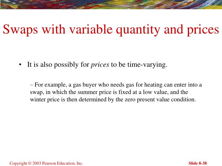 Swaps with variable quantity and prices