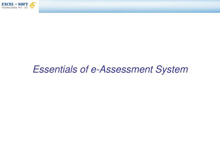 Essentials of e-Assessment System