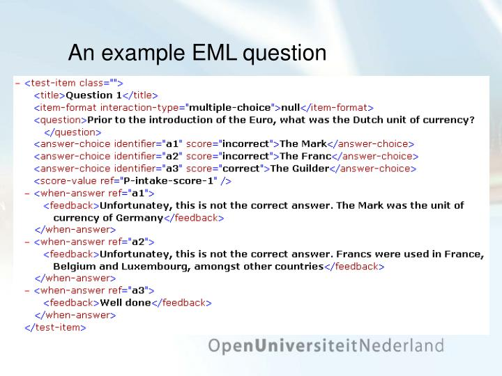 An example EML question