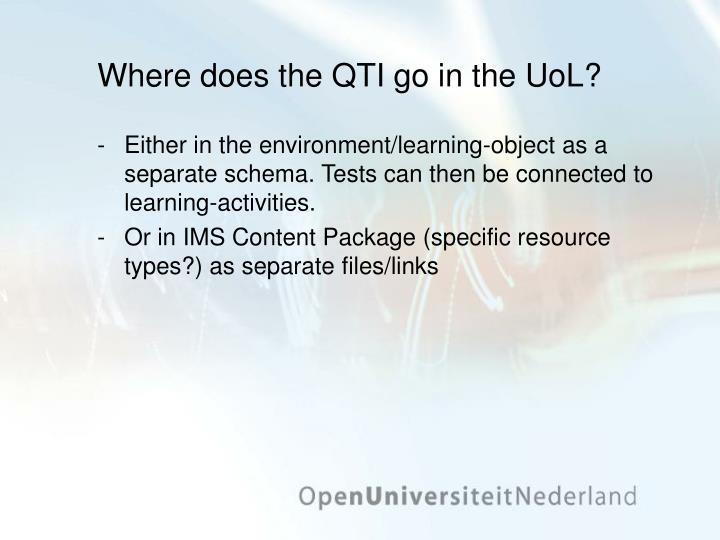 Where does the QTI go in the UoL?