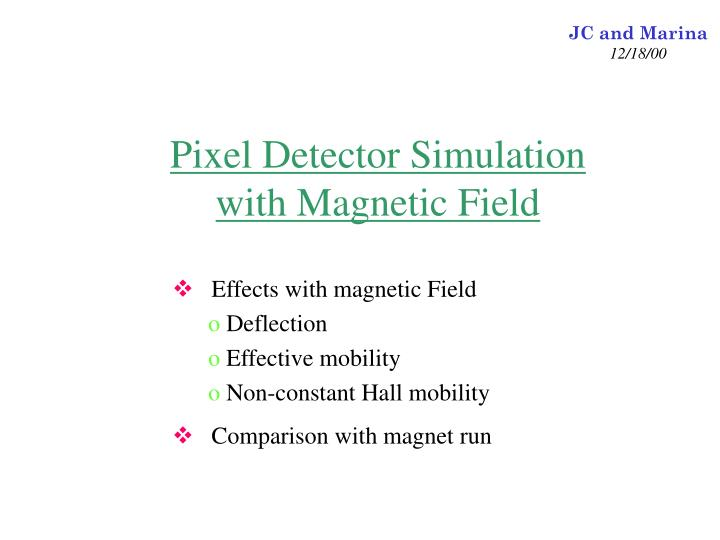 Pixel detector simulation with magnetic field
