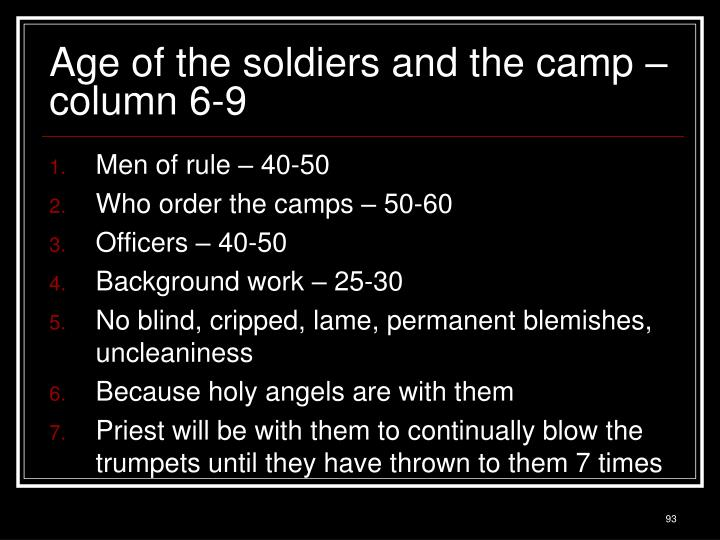 Age of the soldiers and the camp – column 6-9