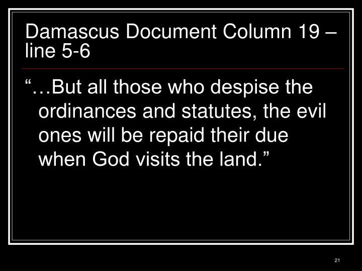 Damascus Document Column 19 – line 5-6