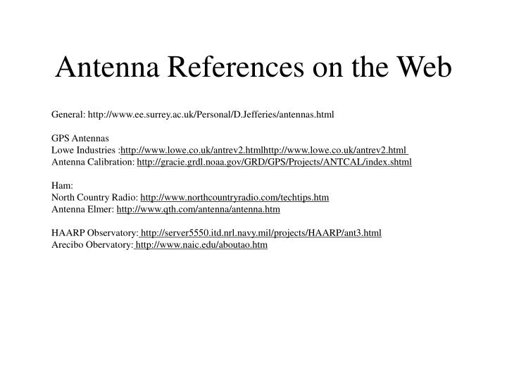 Antenna References on the Web