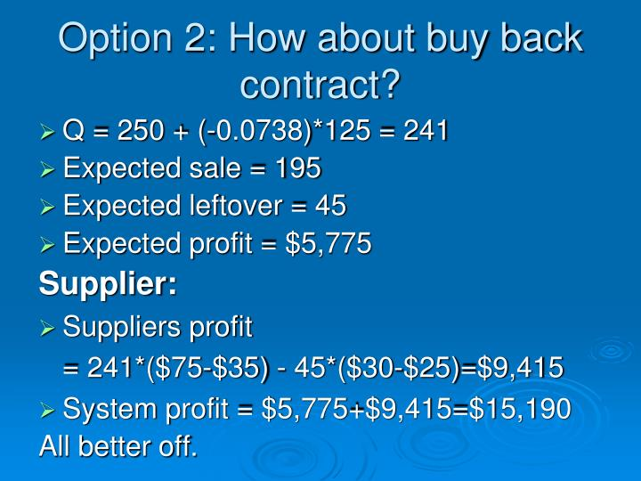 Option 2: How about buy back contract?