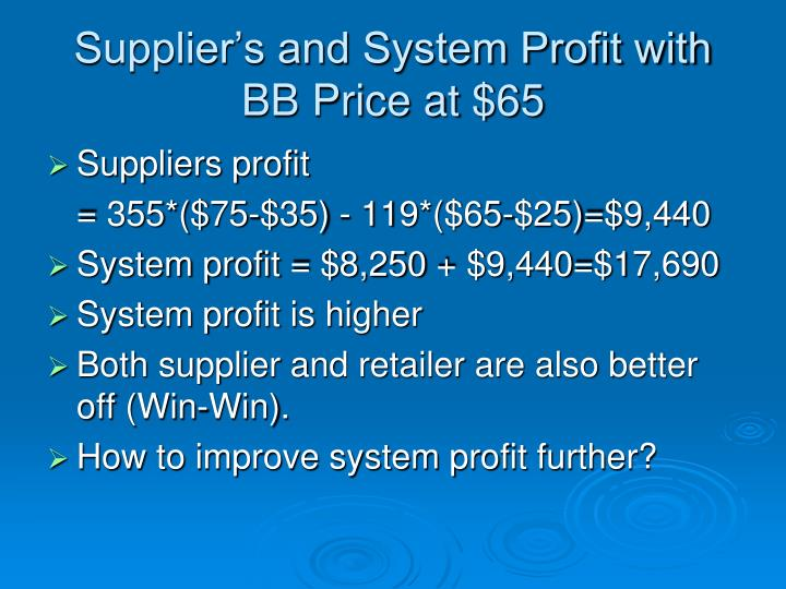 Supplier's and System Profit with