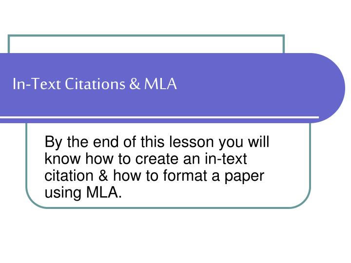 In text citations mla