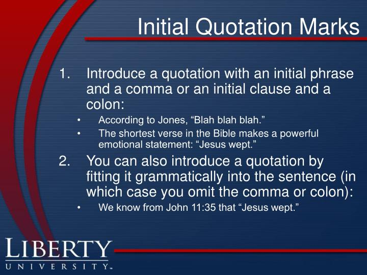 Initial Quotation Marks