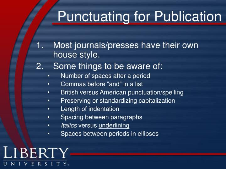 Punctuating for Publication
