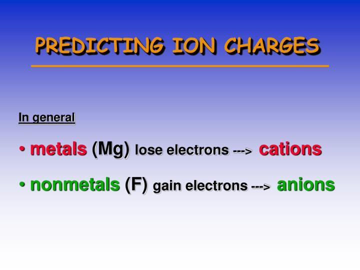 PREDICTING ION CHARGES