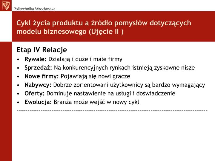 Cykl życia produktu a źródło pomysłów dotyczących modelu biznesowego (Ujęcie II )