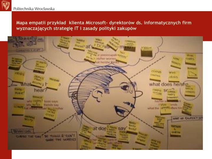 Mapa empatii przykład  klienta Microsoft- dyrektorów ds. informatycznych firm wyznaczających strategię IT i zasady polityki zakupów