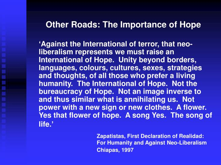 Other Roads: The Importance of Hope