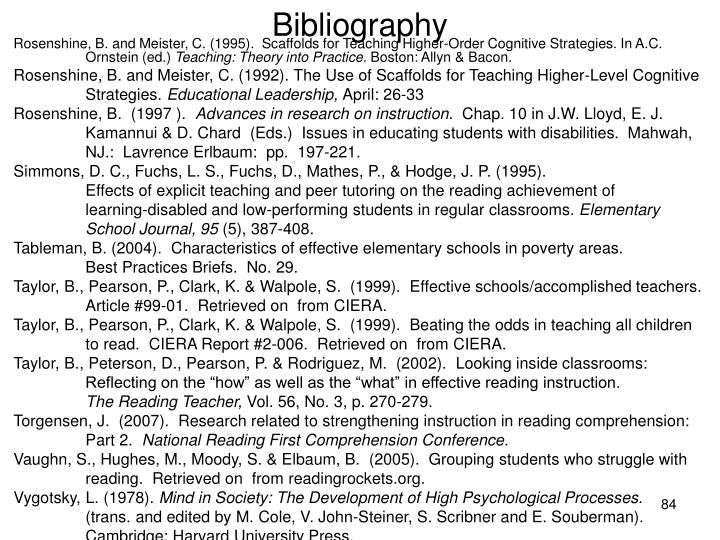 Rosenshine, B. and Meister, C. (1995).  Scaffolds for Teaching Higher-Order Cognitive Strategies. In A.C. Ornstein (ed.)