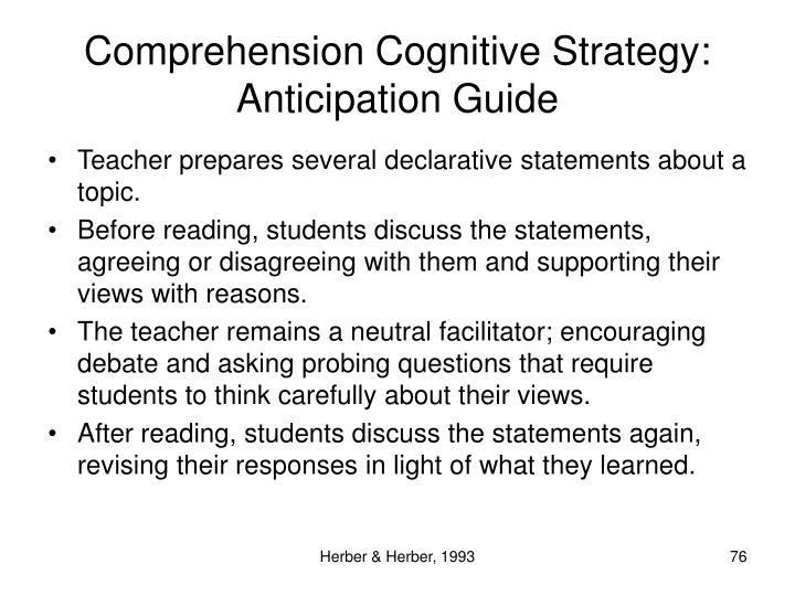 Comprehension Cognitive Strategy: