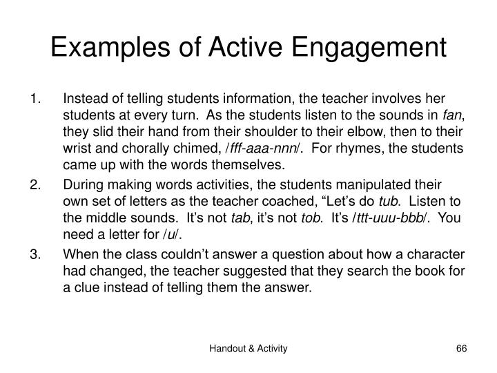 Examples of Active Engagement