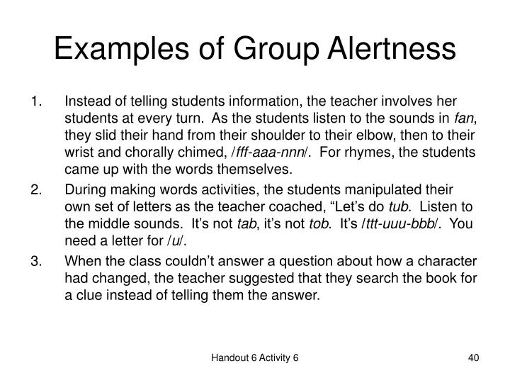 Examples of Group Alertness