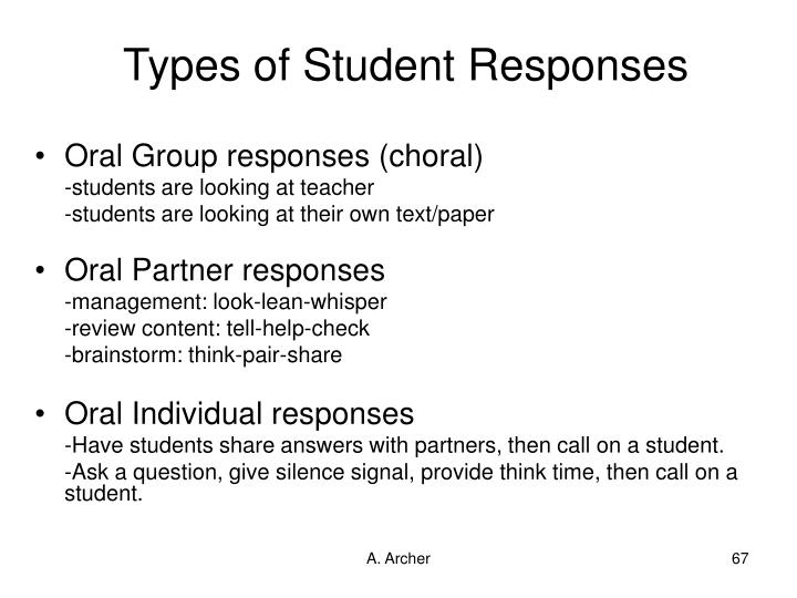 Types of Student Responses