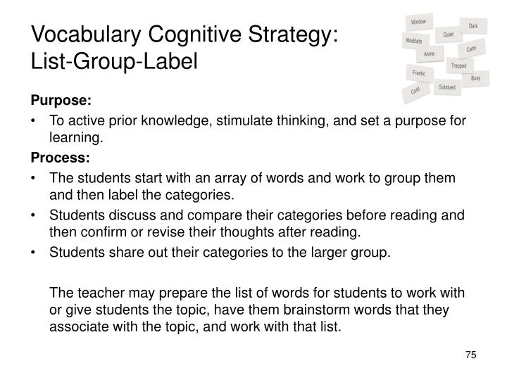 Vocabulary Cognitive Strategy:
