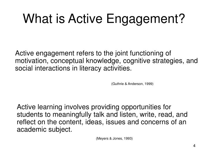 Active engagement refers to the joint functioning of motivation, conceptual knowledge, cognitive strategies, and social interactions in literacy activities.