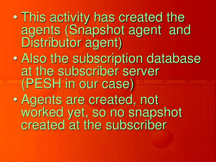 This activity has created the agents (Snapshot agent  and Distributor agent)