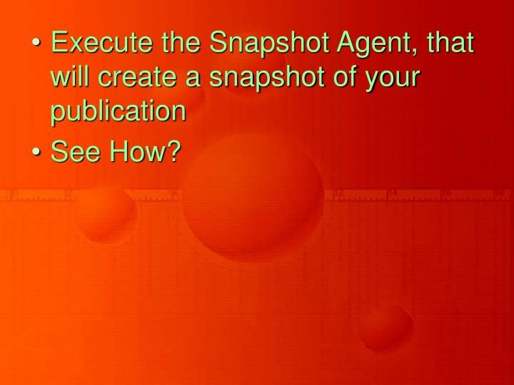 Execute the Snapshot Agent, that will create a snapshot of your publication