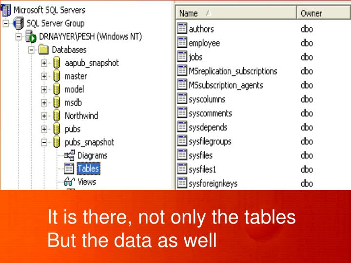 It is there, not only the tables