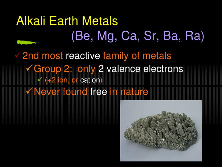 Alkali Earth Metals