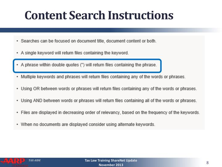 Content Search Instructions