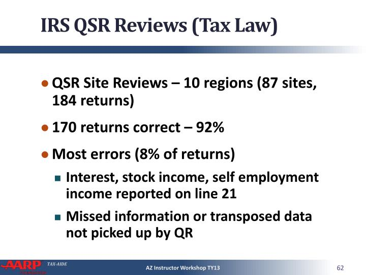 IRS QSR Reviews (Tax Law)