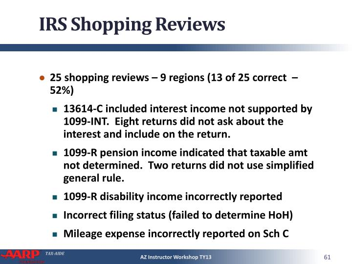 IRS Shopping Reviews