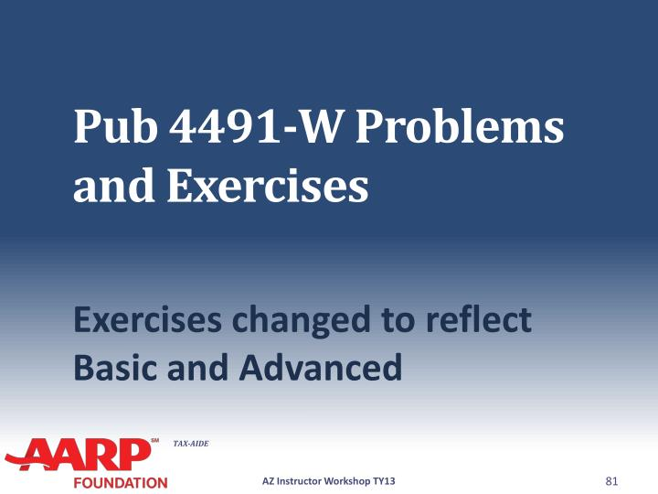 Pub 4491-W Problems and Exercises