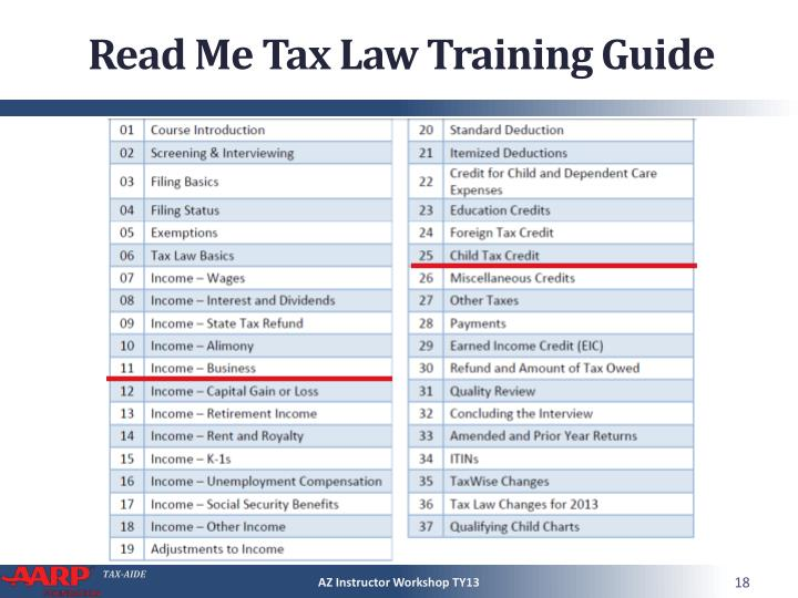 Read Me Tax Law Training Guide
