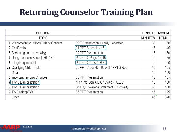 Returning Counselor Training Plan