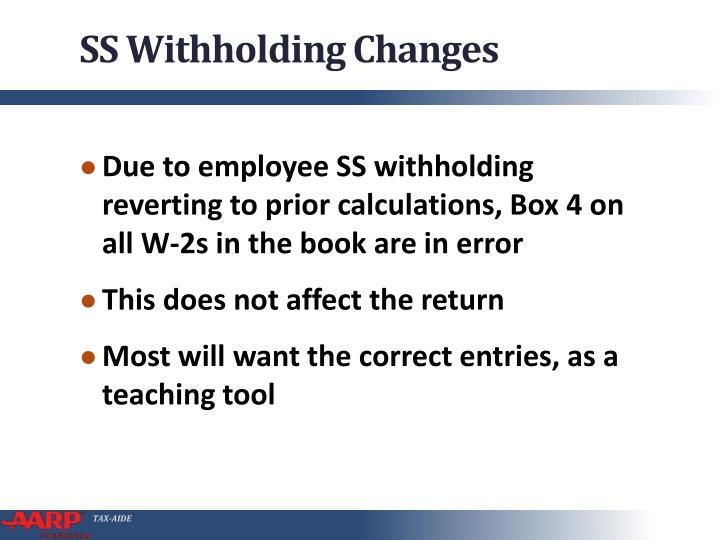 SS Withholding Changes