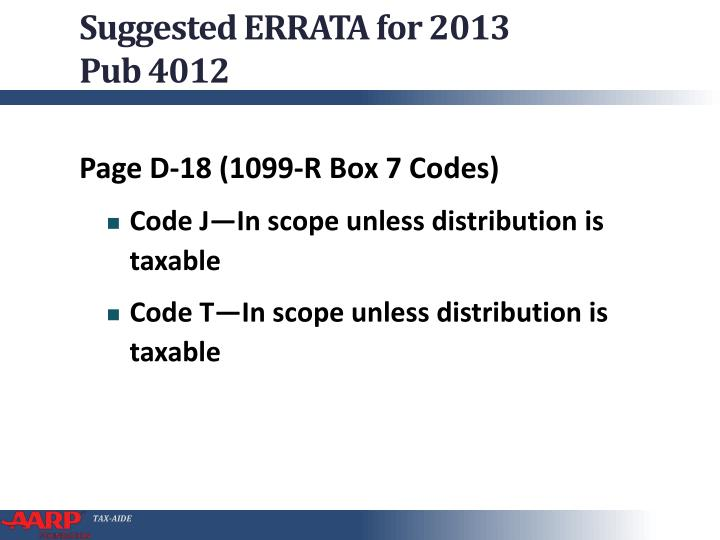Suggested ERRATA for