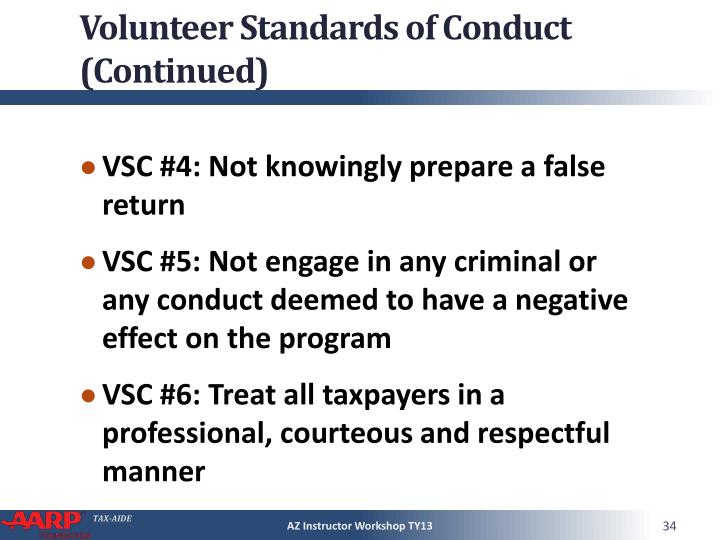 Volunteer Standards of Conduct (Continued)