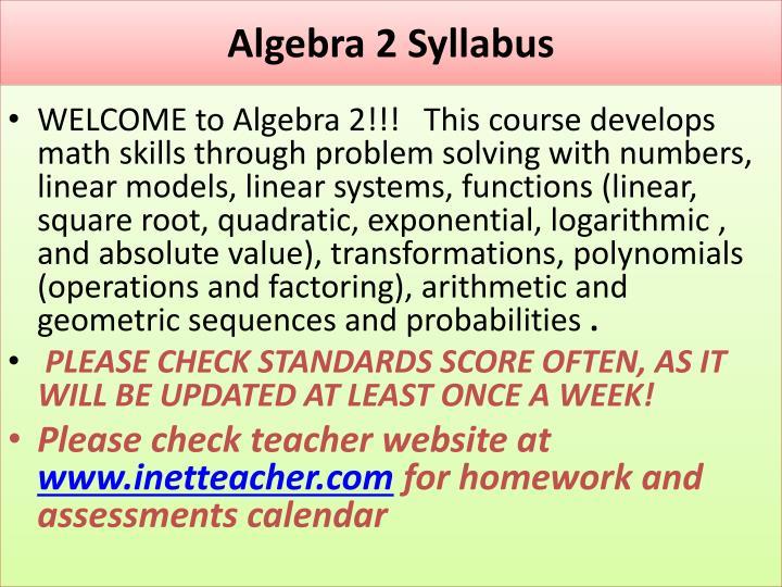 Algebra 2 Syllabus