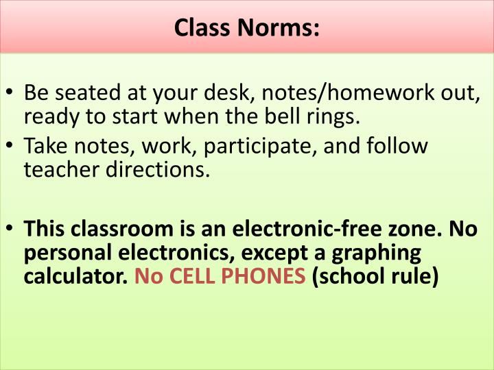 Class Norms: