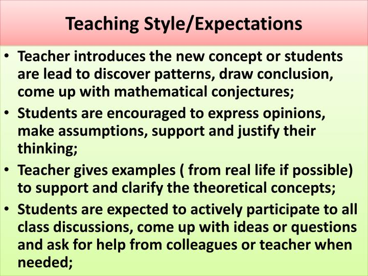Teaching Style/Expectations