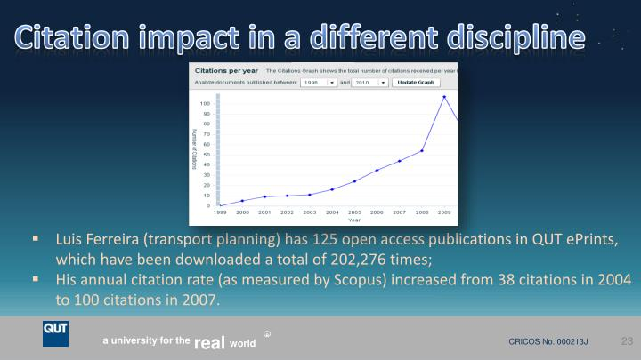 Citation impact in a different discipline