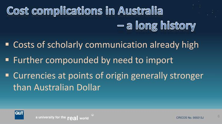 Cost complications in Australia