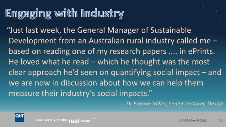 Engaging with Industry