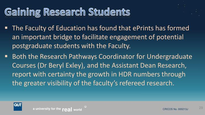 Gaining Research Students