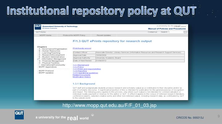 Institutional repository policy at QUT