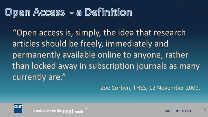 Open Access  - a Definition