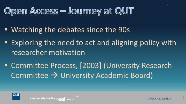 Open Access – Journey at QUT
