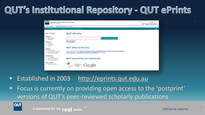 QUT's Institutional Repository - QUT
